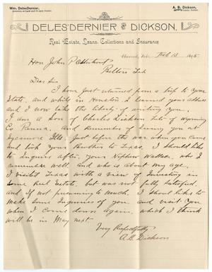 [Letter from A. B. Dickson to John Patterson Osterhout, February 13, 1895]