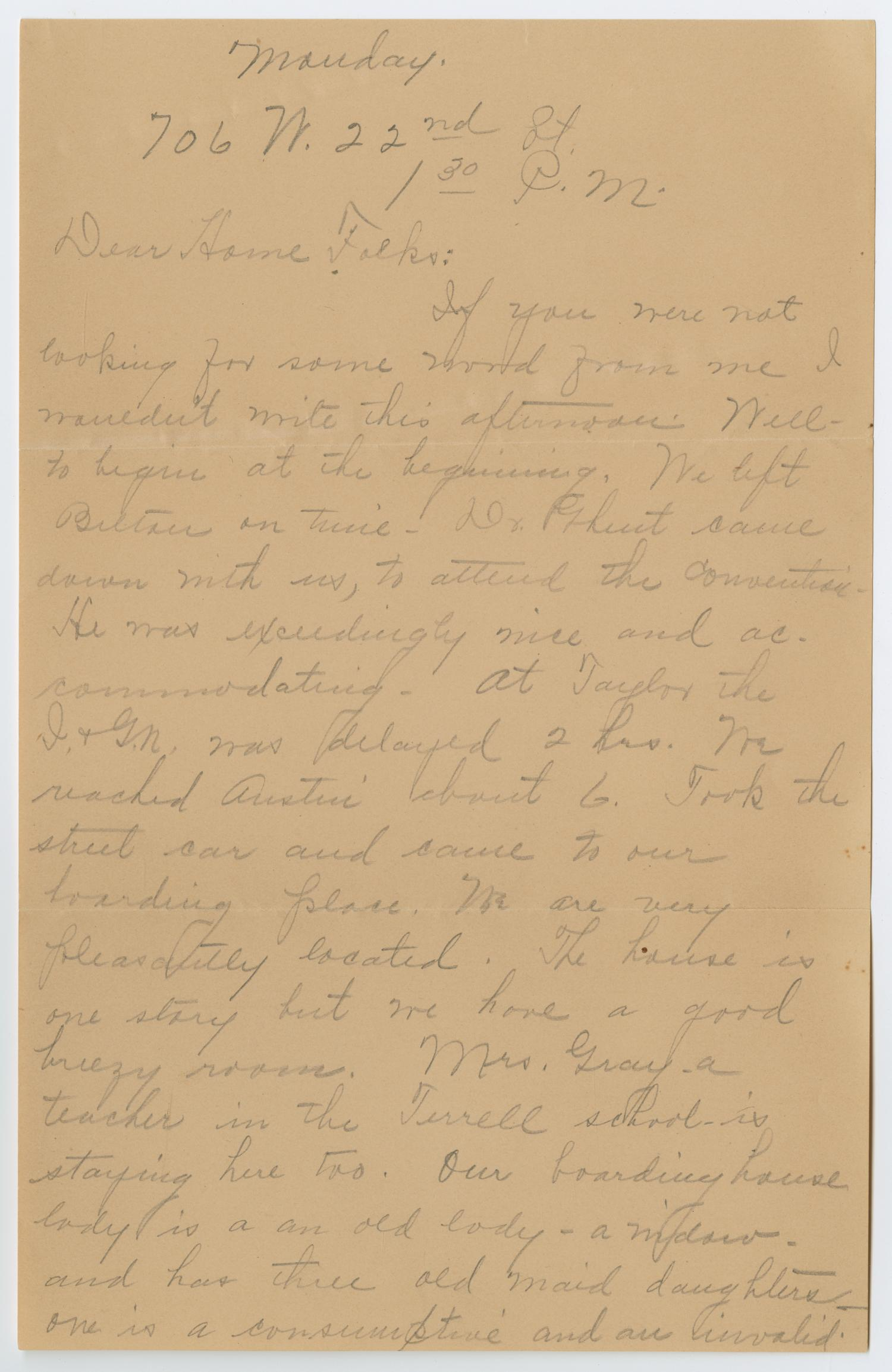 [Letter from Ora Osterhout to her Family, November 22, 1822]                                                                                                      [Sequence #]: 1 of 6