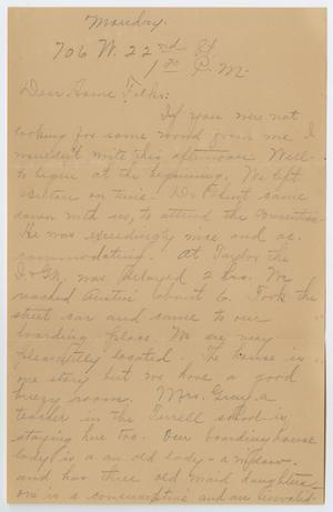 Primary view of object titled '[Letter from Ora Osterhout to her Family, November 22, 1822]'.