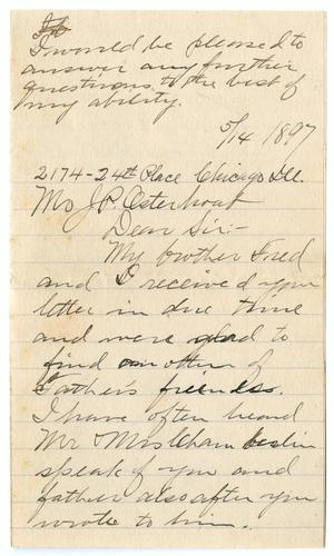 Primary view of object titled '[Letter from Chaplin F. Phillips to John Patterson Osterhout, May 14, 1897]'.