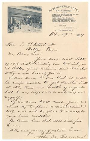 [Letter from John M. Garman to John Patterson Osterhout, October 19, 1899]