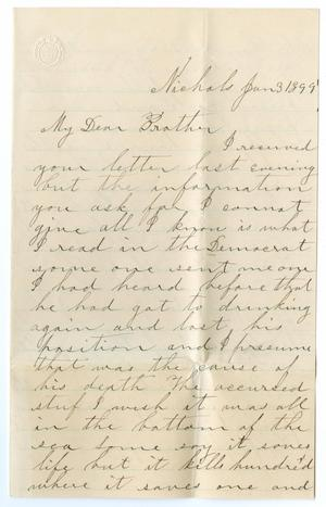 Primary view of object titled '[Letter from Ann Farman to John Patterson Osterhout, January 3, 1899]'.