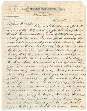 Primary view of object titled '[Letter from John Patterson Osterhout to Gertrude Osterhout, December 4, 1880]'.