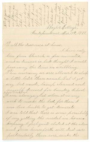 Primary view of object titled '[Letter from Gertrude Osterhout to Osterhout Family, March 13, 1881]'.