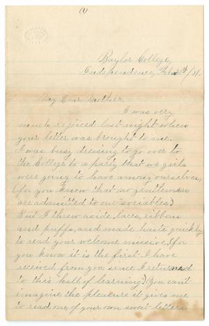 [Letter from Gertrude Osterhout to Junia Roberts Osterhout, February 20, 1881]