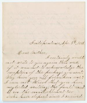 Primary view of object titled '[Letter from Gertrude Osterhout to Junia Roberts Osterhout, April 8, 1881]'.