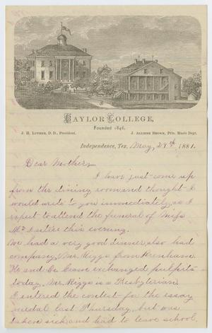 Primary view of object titled '[Letter from Gertrude Osterhout to Junia Roberts Osterhout, May 29, 1881]'.