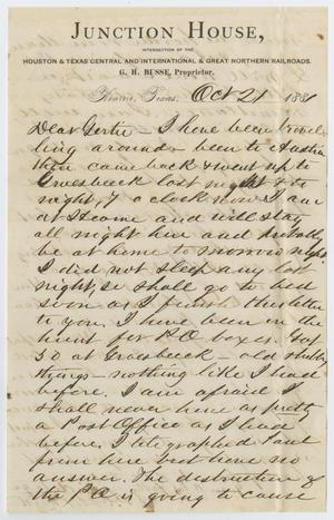 Primary view of object titled '[Letter from John Patterson Osterhout to Gertrude Osterhout, October 21, 1881]'.