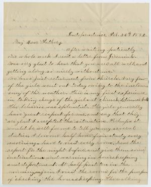 [Letter from John Patterson Osterhout to Gertrude Osterhout, February 26, 1882]