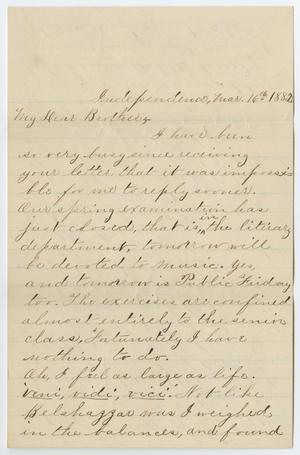 Primary view of object titled '[Letter from Gertrude Osterhout to Paul Osterhout, March 16, 1882]'.