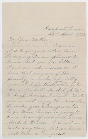 Primary view of object titled '[Letter from Gertrude Osterhout to Junia Roberts Osterhout, April 22, 1883]'.