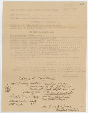Primary view of object titled '[Application for Admission into the National Society United States Daughters of 1812 for May Patterson Osterhout]'.