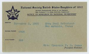 [Notice of Admission into the National Society, United States Daughters of 1812 for May Patterson Osterhout]