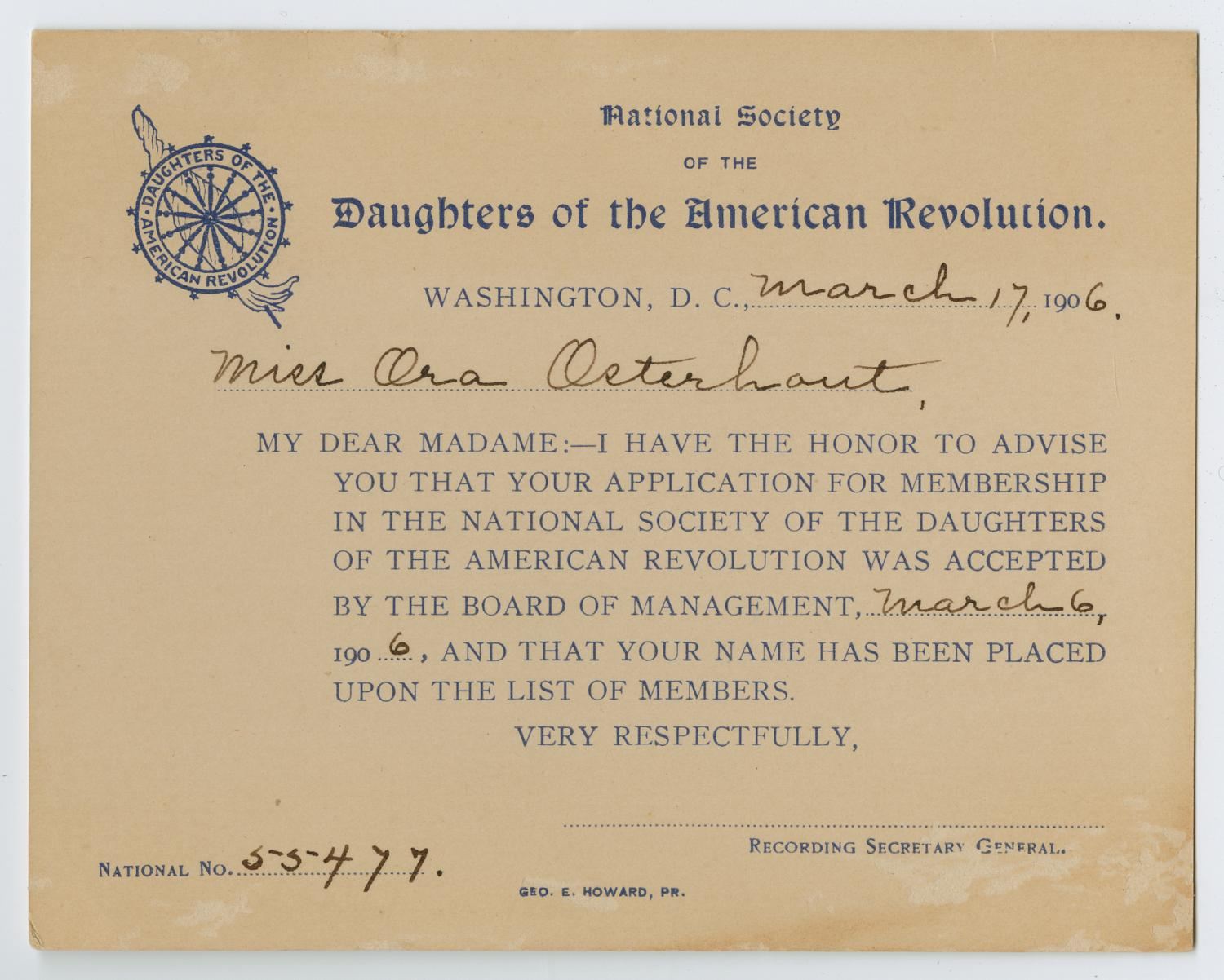 [Acceptance Card for the National Society of the Daughters of the American Revolution for Ora Osterhout]                                                                                                      [Sequence #]: 1 of 2