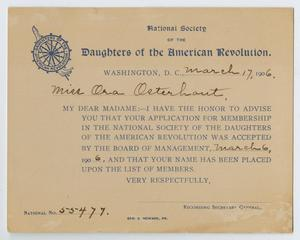 Primary view of object titled '[Acceptance Card for the National Society of the Daughters of the American Revolution for Ora Osterhout]'.