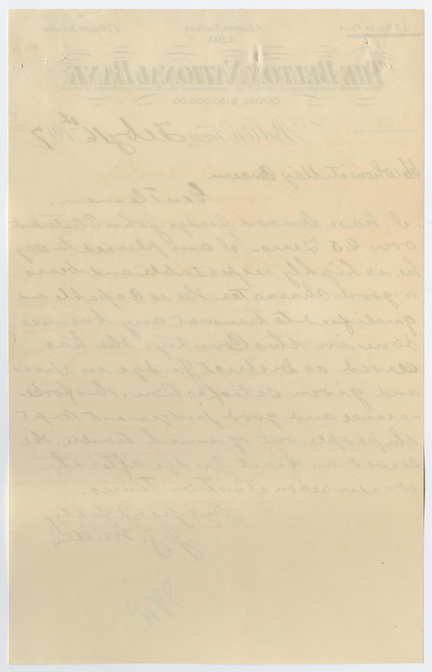 [Letter from J. Z. Miller, February 16, 1897]                                                                                                      [Sequence #]: 2 of 2