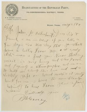 Primary view of object titled '[Letter from R. B. Goosby to John Patterson Osterhout, May 3, 1897]'.