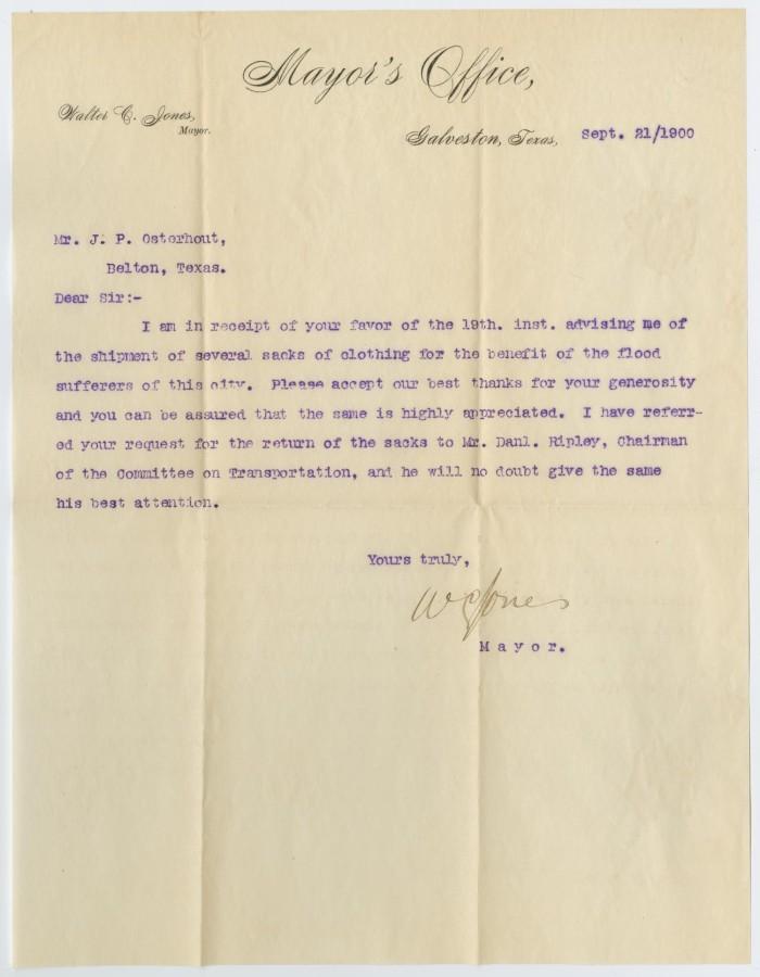 Letter from Walter C. Jones to John Patterson Osterhout, September