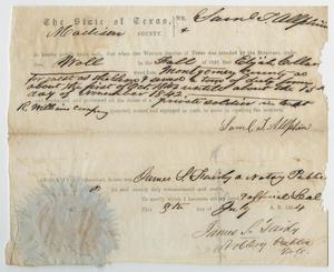 Primary view of object titled '[Oath of Service in the Western Frontier of Texas for Elijah Collar]'.