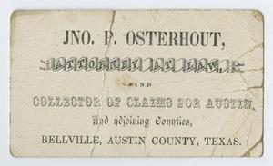Primary view of object titled '[Business Card for John Patterson Osterhout]'.