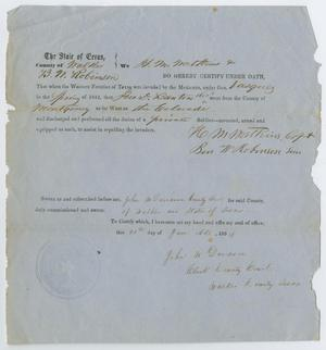 Primary view of object titled '[Oath of Service in the Western Frontier of Texas]'.