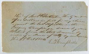 Primary view of object titled '[Financial Claim Against the Late Republic of Texas]'.
