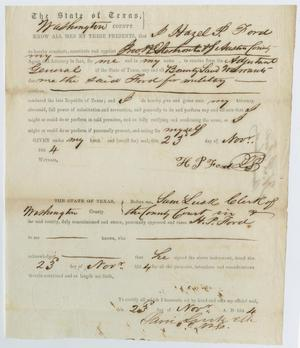 Primary view of object titled '[Appointment of John Patterson Osterhout as Attorney to Hazel P. Ford]'.