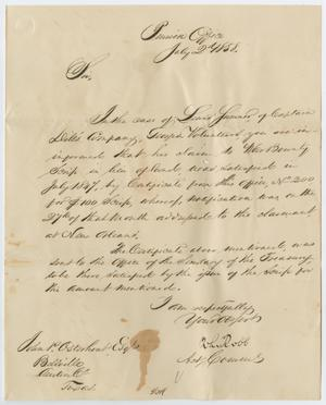 Primary view of object titled '[Letter from the Pension Office to John Patterson Osterhout, July 2, 1858]'.