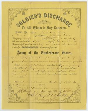 Primary view of object titled '[Soldier's Discharge Papers for John Patterson Osterhout]'.