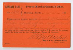 Primary view of object titled '[General Pass for John Patterson Osterhout]'.