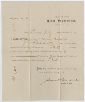 [Voter Certificate for John Patterson Osterhout]