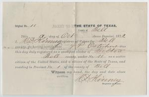 Primary view of object titled '[Elector Registration in Belton, Texas for John Patterson Osterhout]'.
