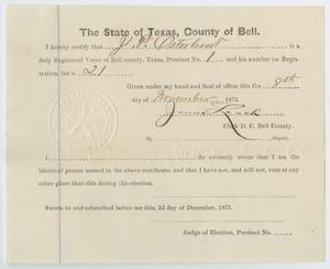 [Voter Certificate for John Patterson Osterhout]