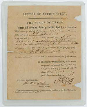 [Letter of Appointment to Notary Public for John Patterson Osterhout]