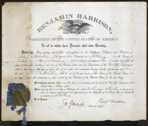 Primary view of object titled '[Certificate of Appointment to Postmaster for John Patterson Osterhout]'.