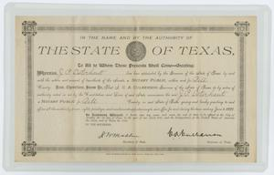 Primary view of object titled '[Certificate of Appointment to Notary Public for John Patterson Osterhout]'.