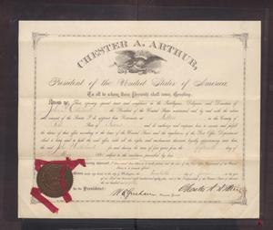 [Certificate of Appointment to Postmaster for John Patterson Osterhout]