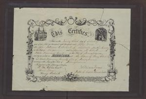 Primary view of object titled '[Marriage Certificate for John Patterson and Junia Roberts Osterhout]'.