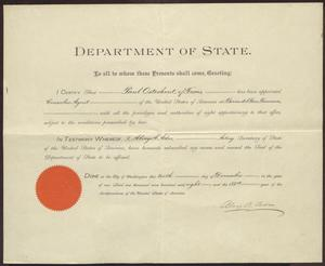 Primary view of object titled '[Certificate of Appointment to Consular Agent for Paul Osterhout]'.