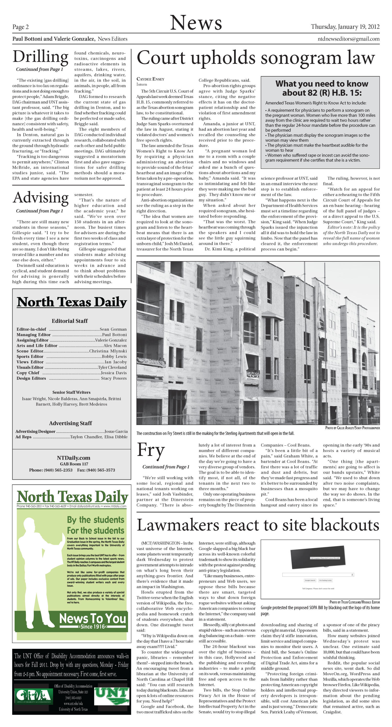 North Texas Daily (Denton, Tex.), Vol. 99, No. 3, Ed. 1 Thursday, January 19, 2012                                                                                                      [Sequence #]: 2 of 10