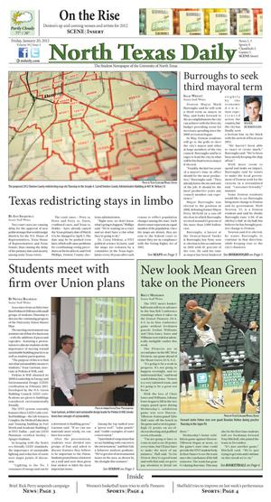 Primary view of object titled 'North Texas Daily (Denton, Tex.), Vol. 99, No. 4, Ed. 1 Friday, January 20, 2012'.