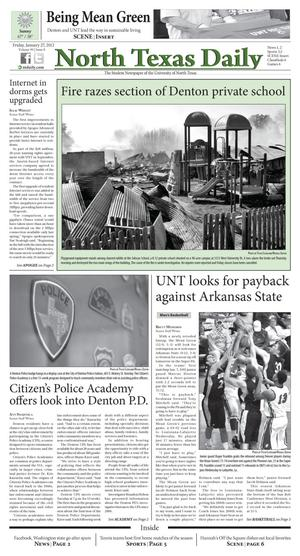 Primary view of object titled 'North Texas Daily (Denton, Tex.), Vol. 99, No. 8, Ed. 1 Friday, January 27, 2012'.