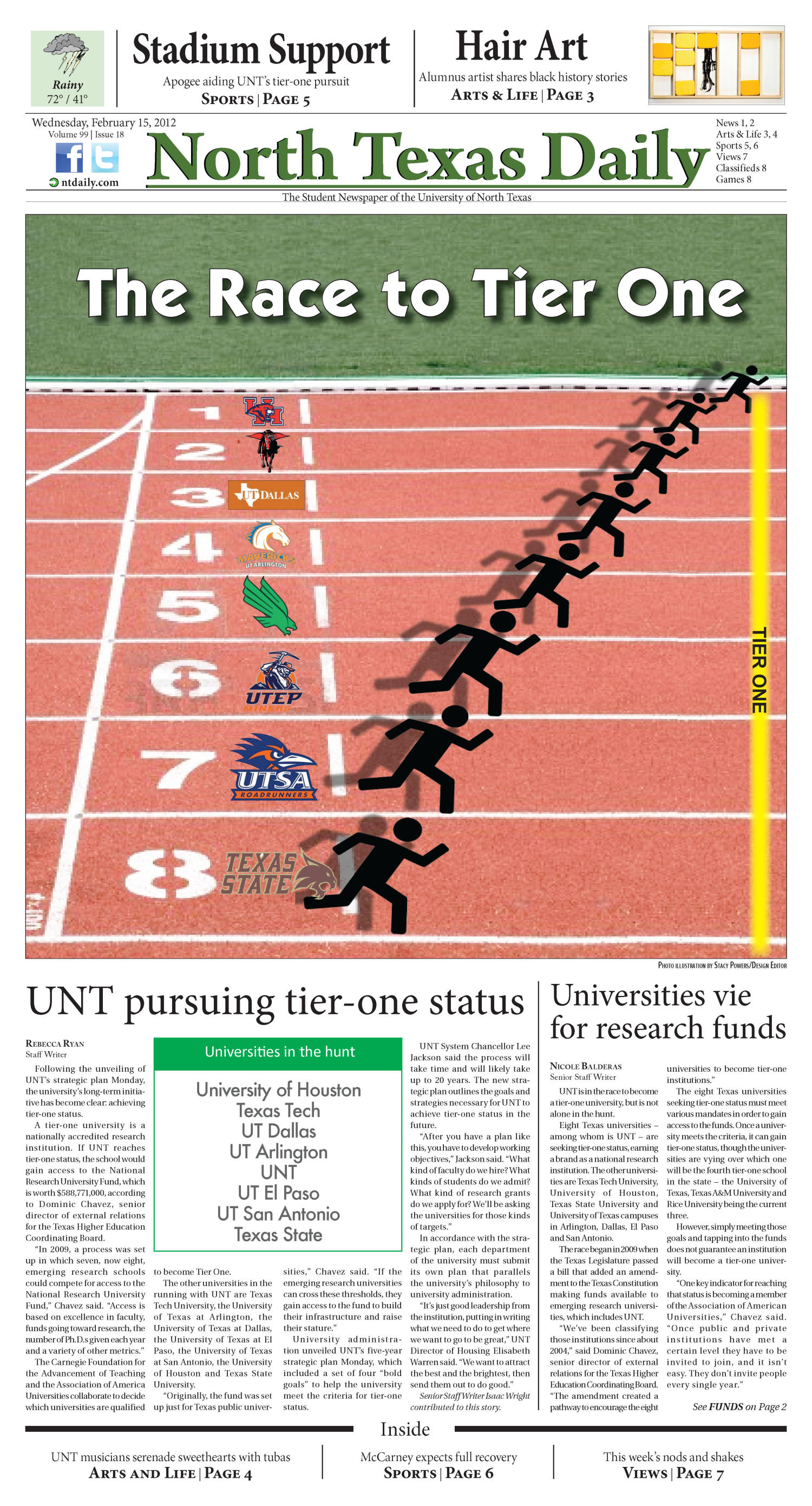 North Texas Daily (Denton, Tex.), Vol. 99, No. 18, Ed. 1 Wednesday, February 15, 2012                                                                                                      [Sequence #]: 1 of 8