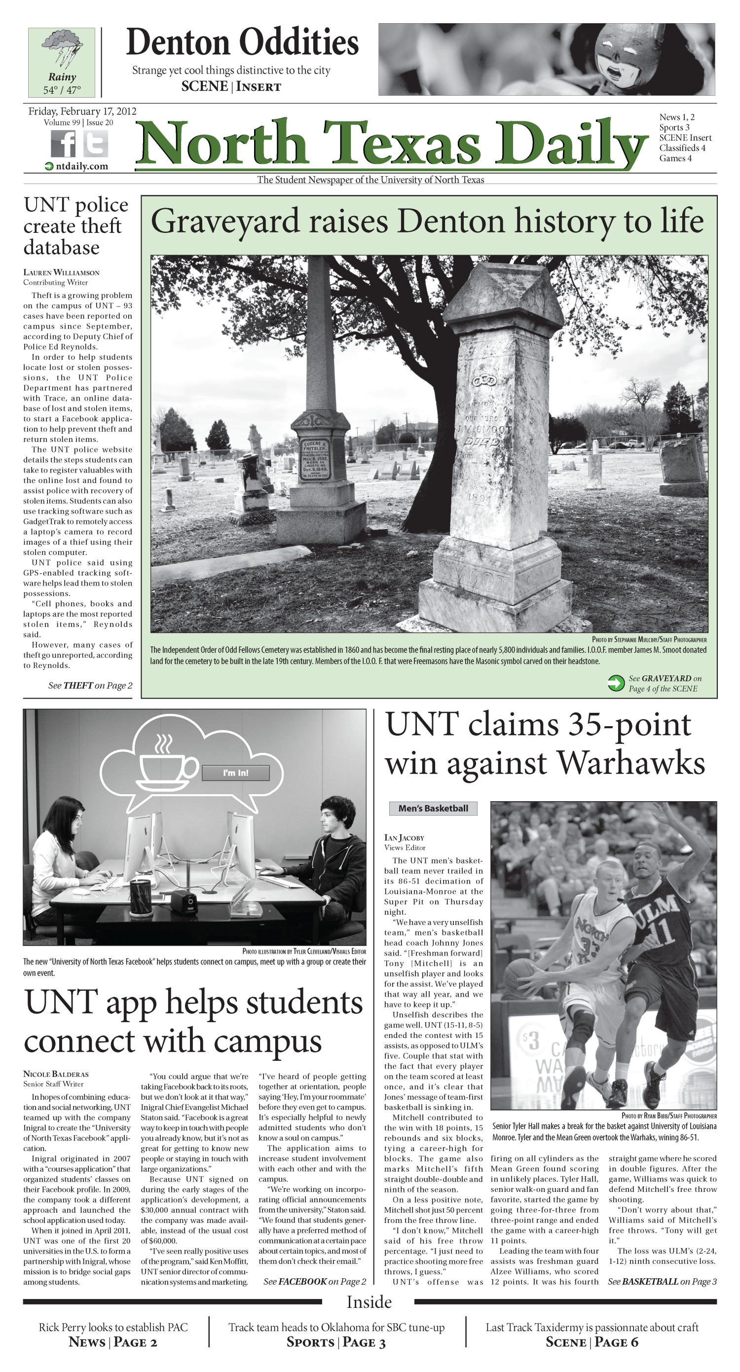 North Texas Daily (Denton, Tex.), Vol. 99, No. 20, Ed. 1 Friday, February 17, 2012                                                                                                      [Sequence #]: 1 of 12