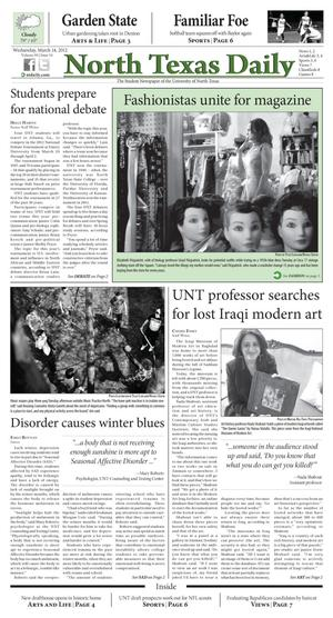 Primary view of object titled 'North Texas Daily (Denton, Tex.), Vol. 99, No. 34, Ed. 1 Wednesday, March 14, 2012'.