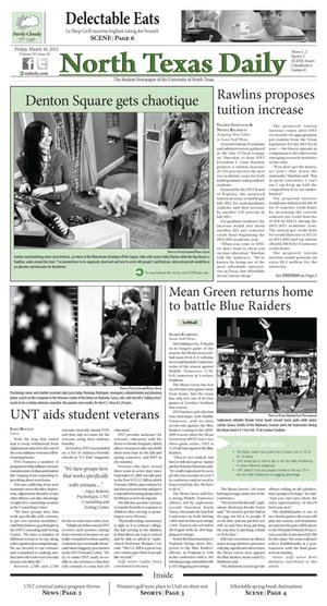 Primary view of object titled 'North Texas Daily (Denton, Tex.), Vol. 99, No. 36, Ed. 1 Friday, March 16, 2012'.