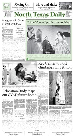 North Texas Daily (Denton, Tex.), Vol. 99, No. 43, Ed. 1 Thursday, April 5, 2012