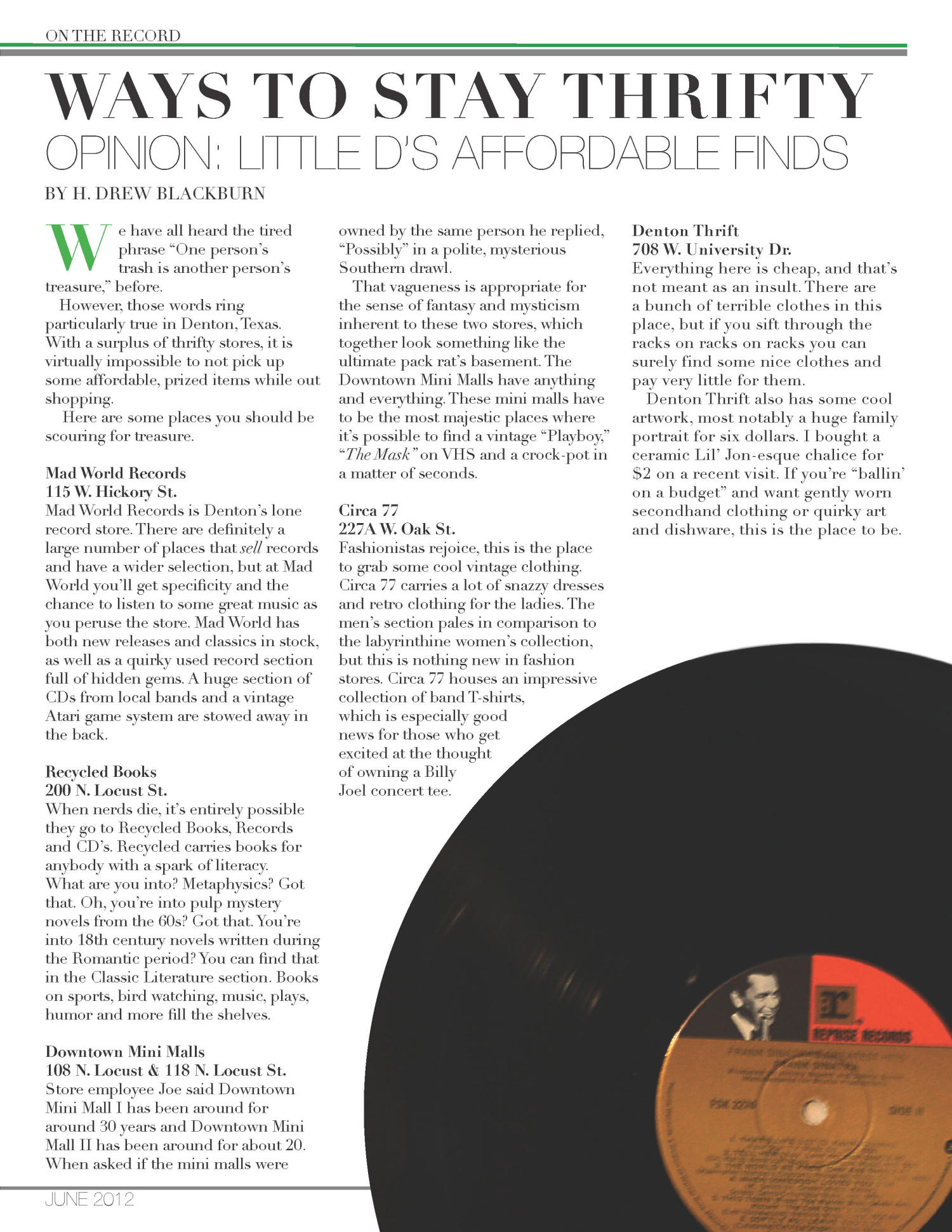On The Record, Vol. 4, No. 1, Ed. 1 Friday, June 15, 2012                                                                                                      [Sequence #]: 27 of 32