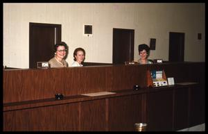 Primary view of object titled '[Three Unidentified Women at First National Bank]'.