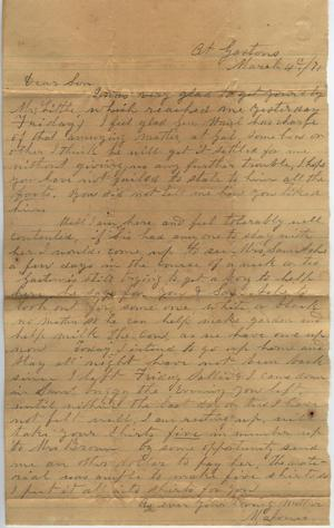 Primary view of object titled 'Letter to Cromwell Anson Jones, 4 March 1871'.